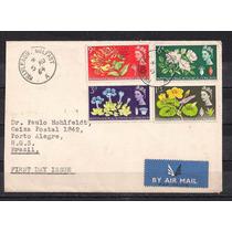 Inglaterra - Envelope Porte Série Selos Flores - 1964!!!