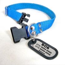 Kit Identificação Para Cães: Coleira + Dog Tag Personalizada