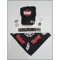 Kit Slipknot Bracelete Bandana Boné Pronta Entrega