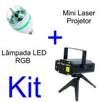 Mini Laser Projetor + Lâmpada Led Rgb Giratória Bola Maluca