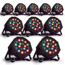 Kit Com 10 Canhão Led Par 64 Rgb Led 3w Dmx Strobo Digital