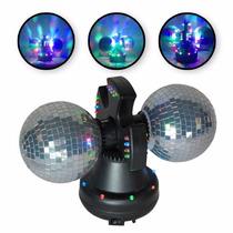 Luminária Com 2 Globos Espelhados, Motor E Leds Coloridos