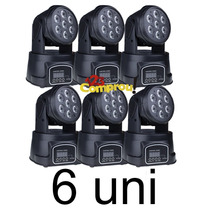 Kit 6 Mini Moving Head Wash De Led 7/12w Dmx Rgbw Quadriled