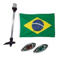 Kit Luz De Popa Led + Olho De Tubarao Crom + Bandeira Brasil