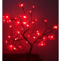 Árvore Natal Decorativa Led Flor Vermelha Alt 60 Cm S/pisca