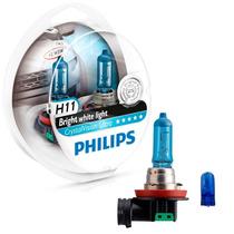 Lâmpada Philips Crystal Vision Ultra H11 Super Branca - Par