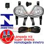 Kit Farol Milha Corsa Antigo Classic Super Branca H3 Inmetro