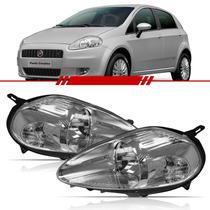 Farol Fiat Punto 2008 2009 2010 2011 2012 Máscara Cromada