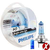Kit Lampadas Philips H7 Crystal Vision Ultra 4300k + Pingos