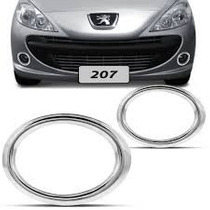 Par Aplique Aro Cromado Farol Milha Auxiliar Peugeot 207