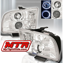 Par Farol Projetor Angel Eyes Led C Milha Ford Mustang 05/09