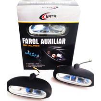 Kit Farol Milha Universal Mini Oval Com Lampada Super Branca