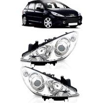 Farol Peugeot 307 07 08 09 10 11 2012 Par Com Motor Eletrico