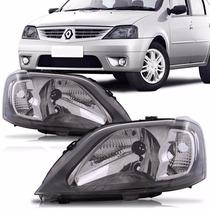 Farol Renault Logan 2007 2008 2009 2010 Máscara Negra