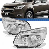 Farol Chevrolet S10 16 15 14 13 12 Máscara Cromada