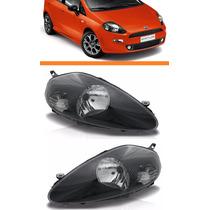 Farol Fiat Punto 08 09 10 2011 2012 Mascara Negra Par