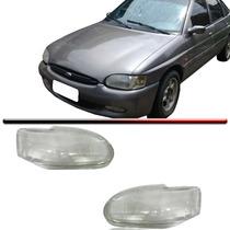 Par Lente Vidro Farol Escort Zetec Hatch Sedan 97 98 99 00