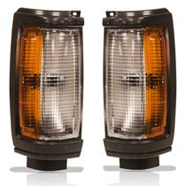 Par Lanterna Dianteira L-200 Quadrada Gl/gls Moldura Preta