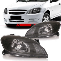Par Farol Chevrolet Celta Prisma 2007 Á 2012 Máscara Negra