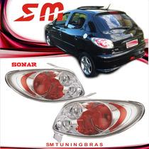 Lanterna Altezza Peugeot 206 98/10 207 09/13 Hatch Cromada