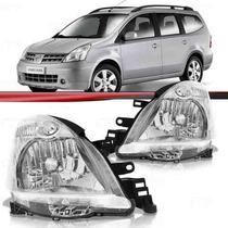 Farol Nissan Livina 09 10 11 12 13 14 Grand Livina Cromado