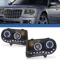 Farol Chrysler 300c 2011 2010 09 08 07 06 Másc Negra Par Led