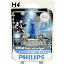 Lâmpada Farol Moto H4 Philips Crystal Vision 4300k 35w/35w