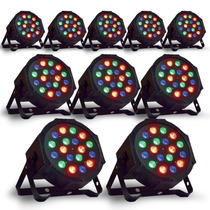 Kit 10 Canhão De Led Par 64 Rgb Led 3w, Dmx, Strobo, Digital