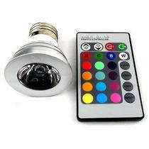 Lâmpada Rgb E27 Led 3w Direcional Com Controle 24 Botões
