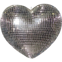Coração Espelhado 20cm Tipo Globo Giratório Festas Eventos