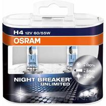 Par De Lâmpadas Osram H4 Night Breaker Unlimited 110% + Luz