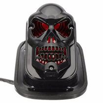 Lanterna Moto Caveira Skull Preto Ou Prata Universal Custom