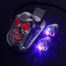 Lanterna + Setas Caveira Cromada Motos Custom Pronta Entrega