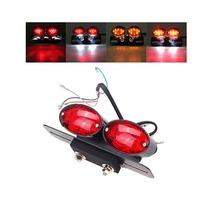 Lanterna Traseira Led Moto Custom Bobber Dupla Suporte Placa
