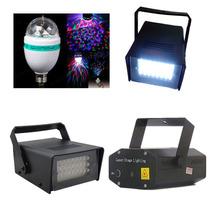 Kit Festa Iluminação 4 Em 1 / 2 Strobo 1 Laser 1 Bola Maluca
