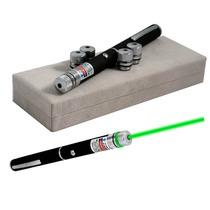 Caneta Laser Pointer Verde Green Alcance 7 Km 5 Ponteiras