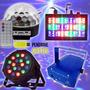 Kit Festa Dj Iluminação Bola Maluca Led Par Strobo Laser 4x1