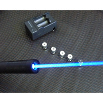 Laser Azul Torch 50.000mw Com 5 Ponteiras Metálicas + Brinde