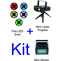 Mini Laser Projetor + Fita Led 3mm 12v + Mini Strobo Luz Led