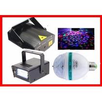 Kit Iluminação Festa 3x1 Strobo Bola Maluca Mini Laser
