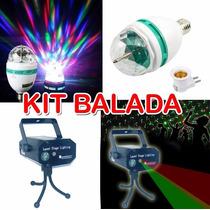 Kit Balada 1 Lâmpada Led Giratória +1 Mini Projetor Laser 3d