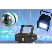 Kit Festa Balada Iluminação Globo Led+projetor Laser+strobo