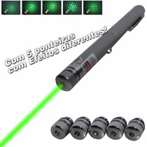 Caneta Laser Green Point - 532nm - 300mw - 5 Ponteiras