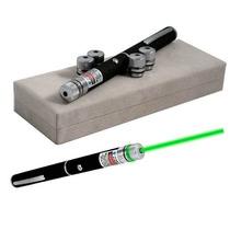 Caneta Laser Pointer Verde Green Alcance 8 Km 5 Ponteiras