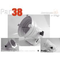 Refletor Canhão Par 38 Alumínio Branco Com Alça E Porta Gel