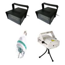 Kit Iluminação Para Festa Strobo Laser Bola Maluca