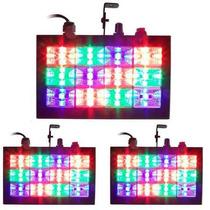 3 Strobo Led Room Rítmico Rgb 15w Rítmico Dj Iluminação Luz