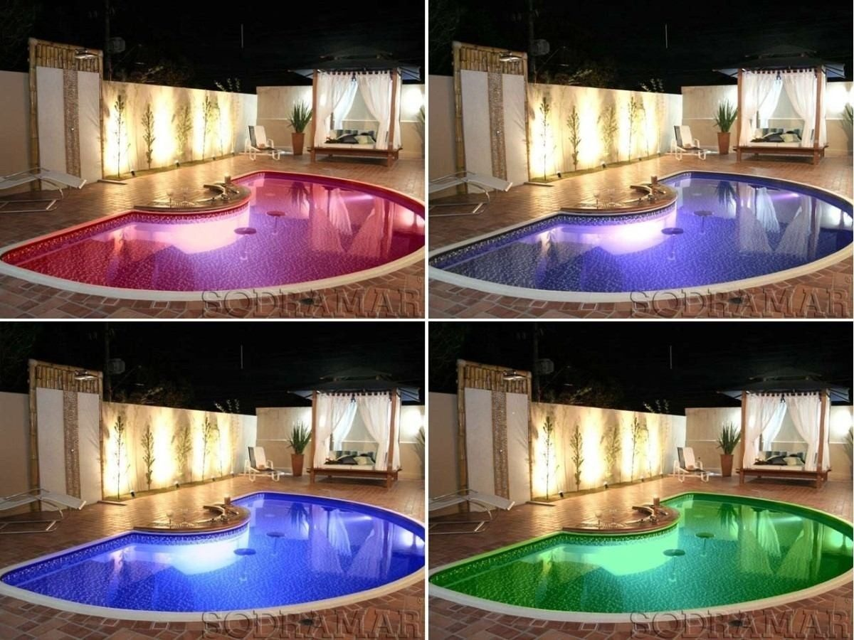 iluminacao led jardins:Iluminação Para Piscina Refletor Led Pooltec 65 Pratic Inox – R$ 275
