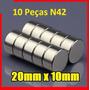 Super Imã Neodímio N42 20x10mm Suporta 7 Kg - 10 Peças
