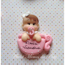 10 Lembrancinhas Bebê Na Xícara Biscuit Imã